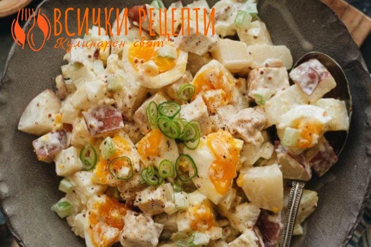 Картофена салата с пиле и майонеза