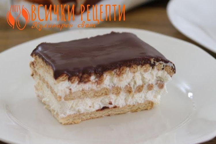 Бисквитена торта с цедено кисело мляко