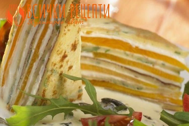 Класическа солена палачинкова торта