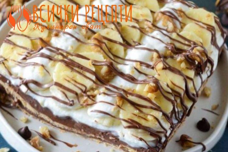 Шоколадова торта с банани