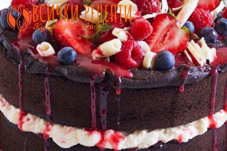 Шоколадова торта с плодове