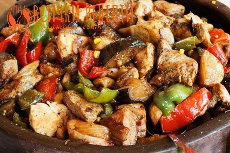 Сач със свинско и пилешко месо на фурна